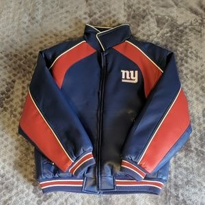 NY Giants Kids Faux Leather, Puffer Jacket